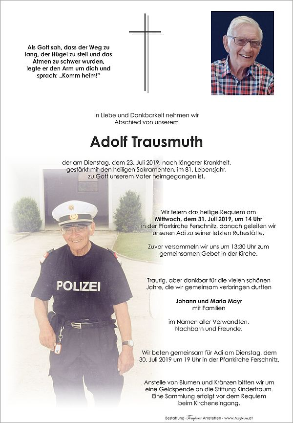 Parte von Adolf Trausmuth