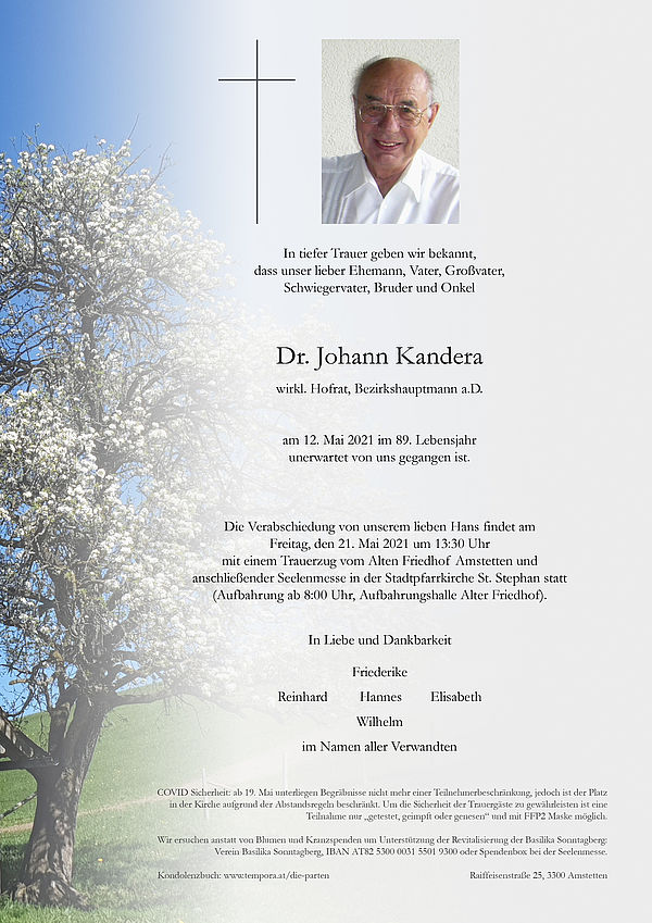 Parte von Dr. Johann Kandera