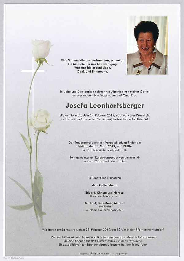 Parte von Josefa Leonhartsberger
