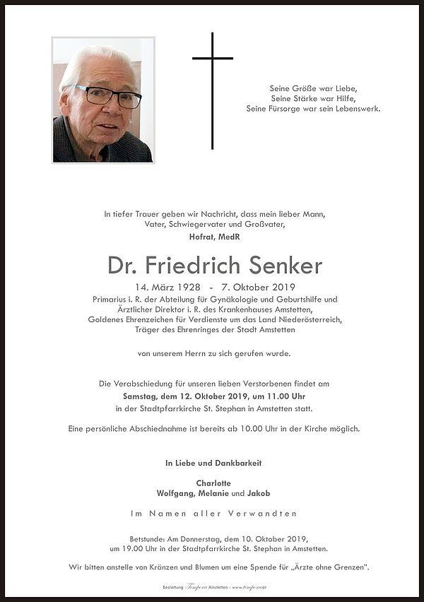 Parte von HR MedR Dr. Friedrich Senker