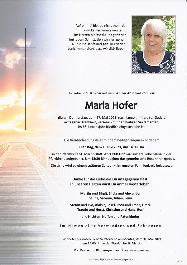 Parte von Maria Hofer