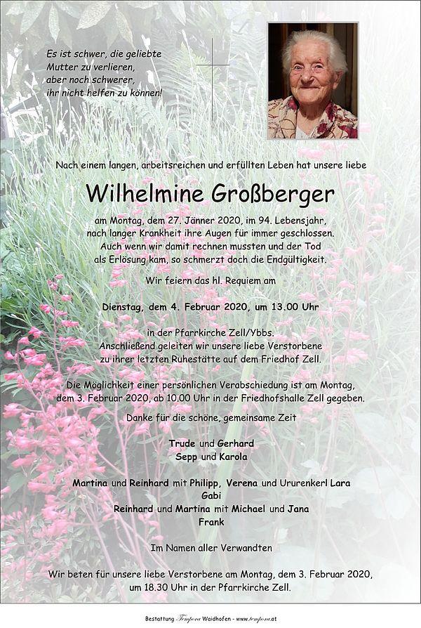 Parte von Wilhelmine Großberger