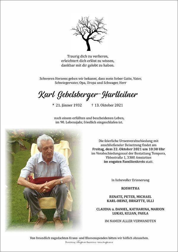 Parte von Karl Gebetsberger-Hartleitner