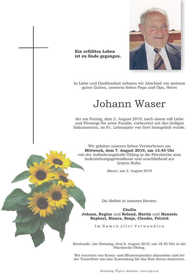Parte von Johann Waser